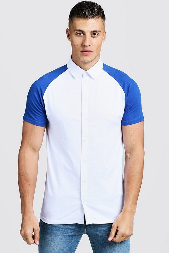 Mens Cobalt Short Sleeve Jersey Shirt With Contrast Raglan