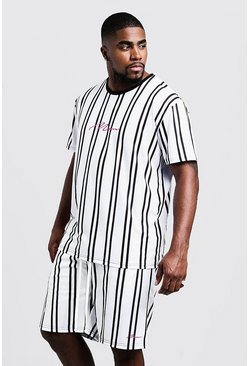 Mens White Big & Tall MAN Stripe T-Shirt & Short Set