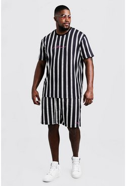 Black Big & Tall MAN Stripe T-Shirt & Short Set