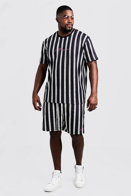 Mens Black Big & Tall MAN Stripe T-Shirt & Short Set