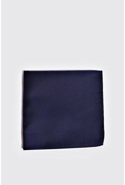 Navy Silk Look Pocket Square