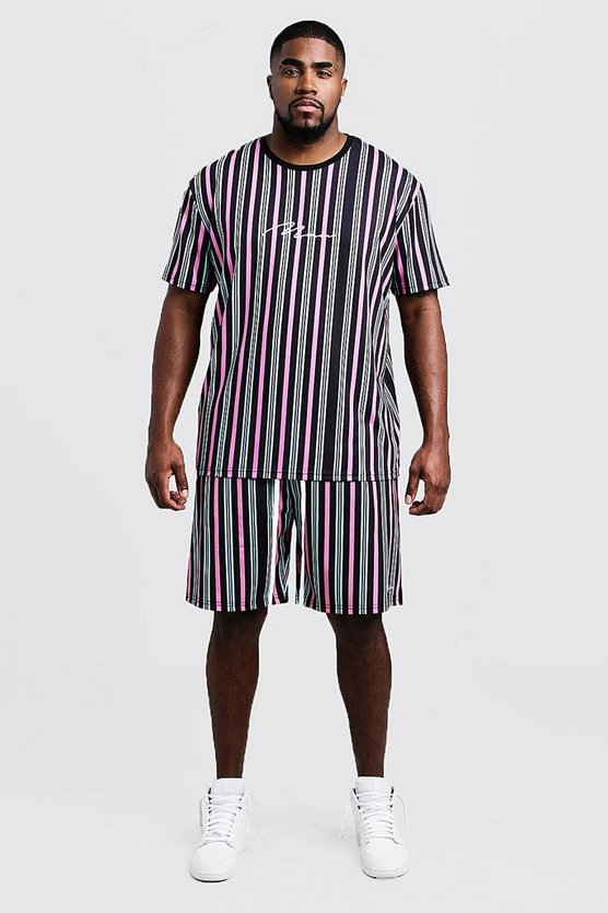 Mens Mint Big & Tall MAN Stripe T-Shirt & Short Set