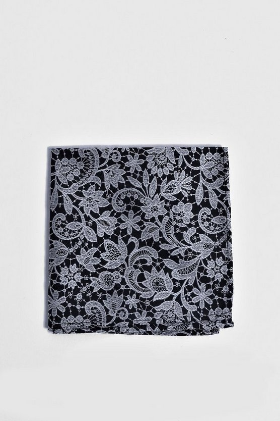 Navy Lace Overlay Print Pocket Square