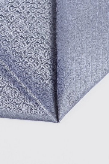 Mens Silver Wave Pattern Pocket Square