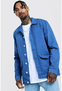Mens Blue Cotton Twill Shacket With Double Pockets