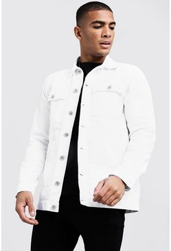 Herr White Cotton Twill 4 Pocket Shacket