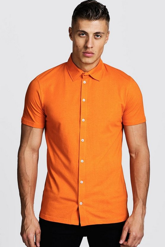Mens Orange Short Sleeve Jersey Shirt