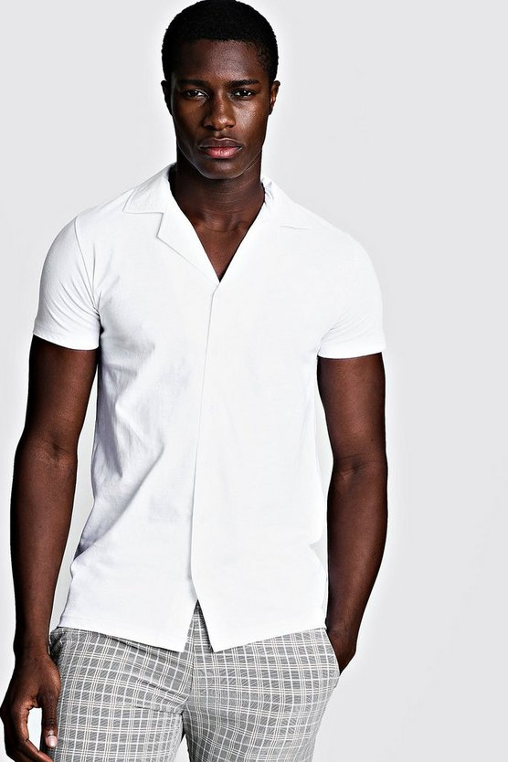 Mens White Short Sleeve Jersey Shirt With Revere Collar