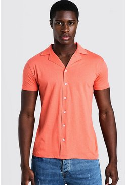 Mens Coral Short Sleeve Jersey Shirt With Revere Collar