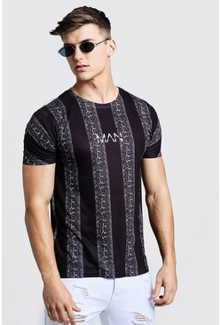 Mens Black Original MAN Snake Stripe Print T-Shirt