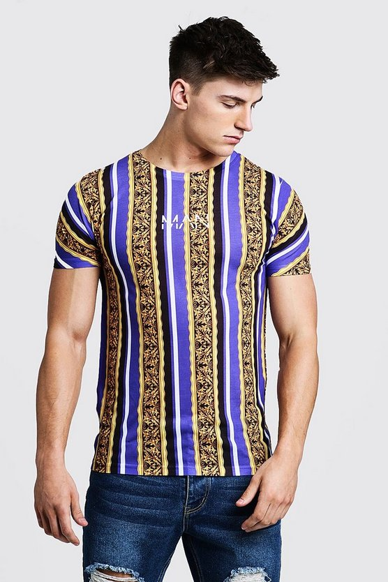 Mens Purple Original MAN Baroque Chain Print T-Shirt