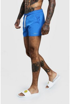 Mens Royal MAN Signature Swim Short In Short Length