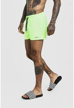 Mens Neon-yellow MAN Signature Swim Short In Short Length