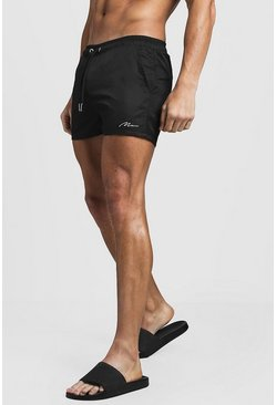 Black MAN Signature Swim Short In Short Length