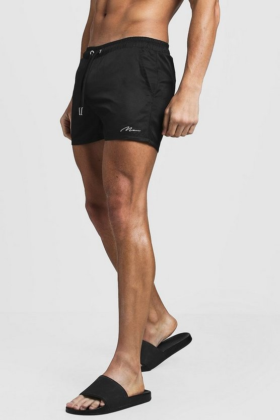 Mens Black MAN Signature Swim Short In Short Length