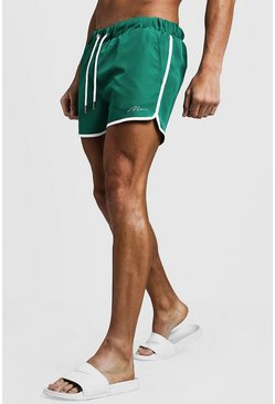 Mens Green MAN Signature Runner Swim Short