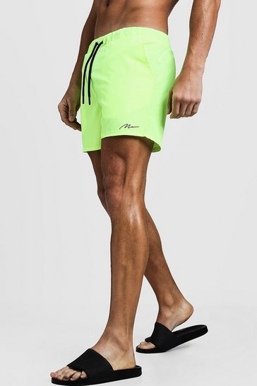 Neon-yellow MAN Signature Mid Length Swim Short