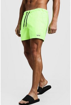 Mens Neon-green Original MAN Mid Length Swim Short