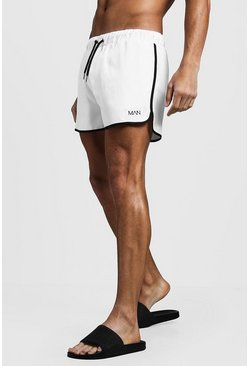 Mens White Original MAN Runner Swim Short