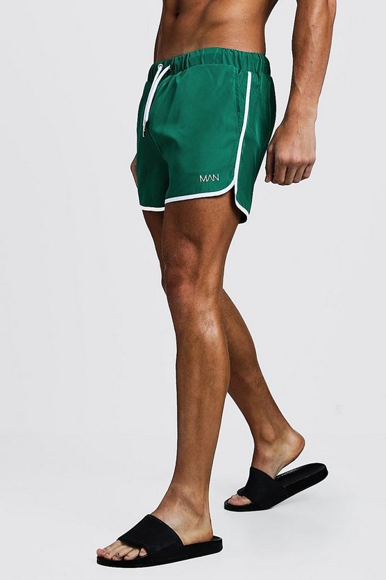 Mens Green Original MAN Runner Swim Short