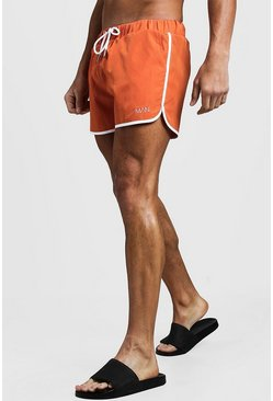 Mens Orange Original MAN Runner Swim Short