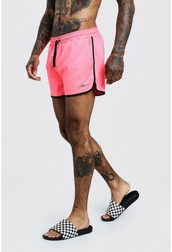 Mens Neon-pink MAN Signature Runner Swim Short