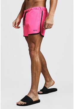 Mens Neon-pink Original MAN Runner Swim Short