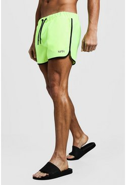 Mens Neon-yellow Original MAN Runner Swim Short