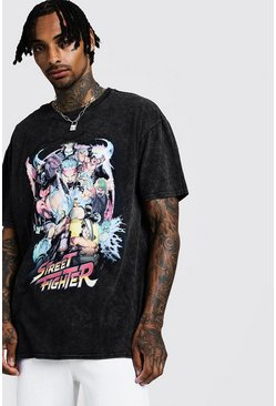 "Washed Oversized T-Shirt mit ""Street Fighter""-Motiv, Schwarz"