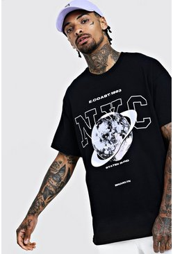 Mens Black Oversized NYC T-Shirt With Graphic