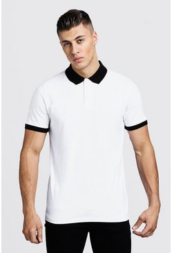 Mens White Contrast Panel Polo
