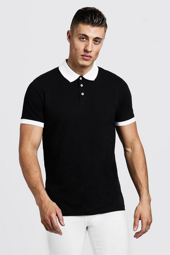 Mens Black Contrast Panel Polo