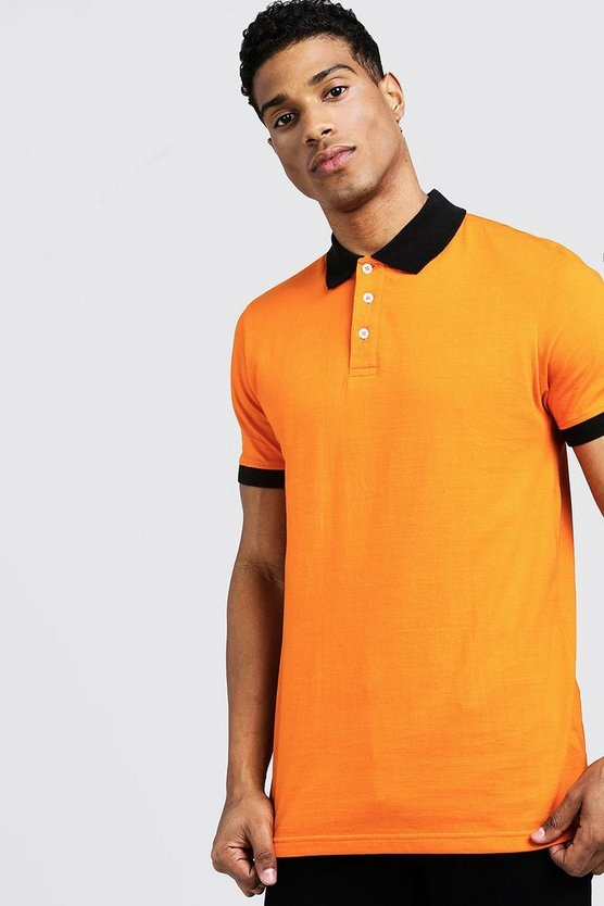 Mens Orange Contrast Panel Polo