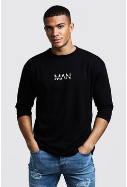 Mens Black MAN Dash 3/4 Sleeve T-Shirt