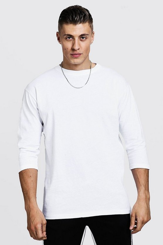White 3/4 Sleeve Regular Fit T-Shirt