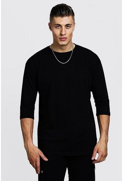 Mens Black 3/4 Sleeve Regular Fit T-Shirt