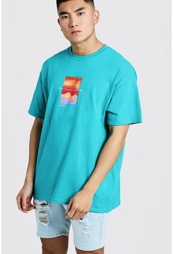 Mens Jade Oversized T-Shirt With Front Print