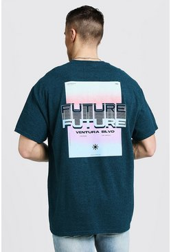 Mens Teal Oversized T-Shirt With Back Print