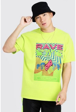 Neon-green Loose Fit T-Shirt With Rave Graphic