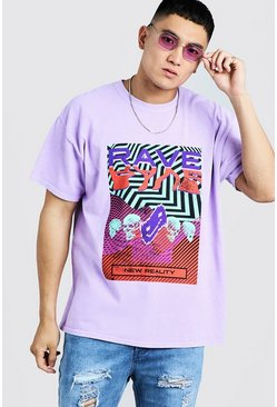 "Loose-Fit T-Shirt mit ""Rave""-Grafik, Orchidee, Herren"