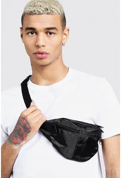 Mens Black 2 Front Pocket Nylon Bumbag