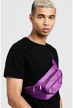Mens Purple Nylon Front Pocket Bumbag