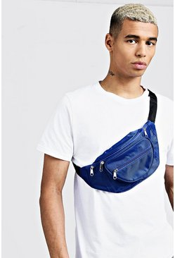 Mens Blue Nylon Front Pocket Bumbag