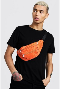 Mens Orange Nylon Front Pocket Bumbag