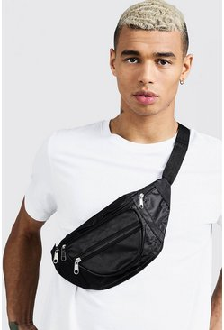 Mens Black Nylon Front Pocket Bumbag