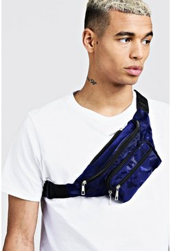 Mens Blue Camo Nylon Bumbag