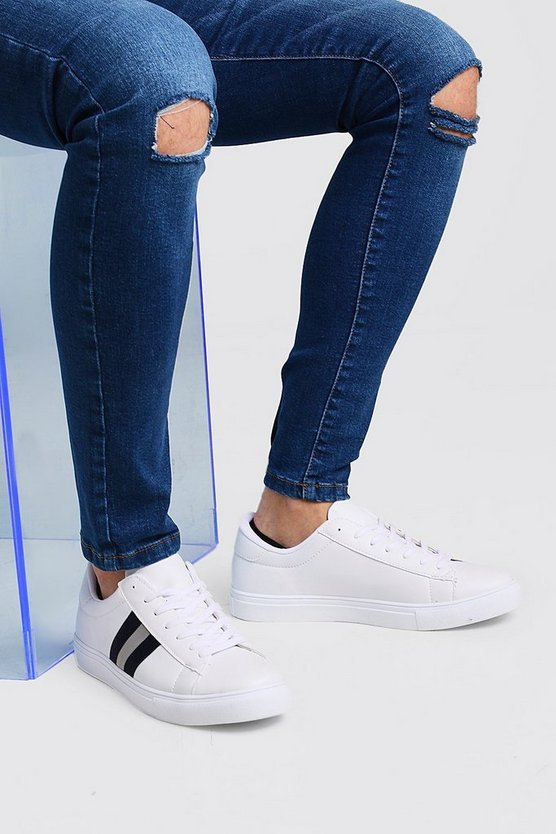 Mens Navy Side Tape Detail Trainer