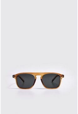 Mens Olive Rivet Detail Classic Sunglasses