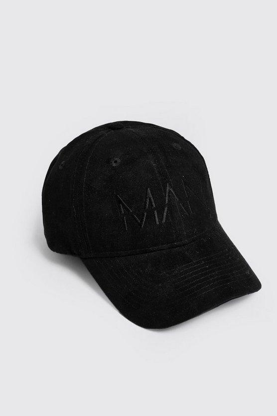Mens Black Faux Suede 6 Panel Cap With MAN Dash