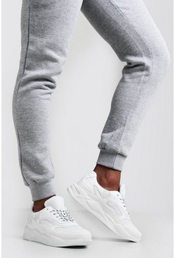 Mens White Abstract Panel Chunky Trainer